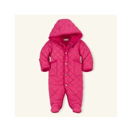 Ralph Lauren - Baby Girls Pink Quilted Snowsuit logo