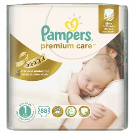 Pampers - Scutece Premium Care 1 New Baby Value Pack 88 buc