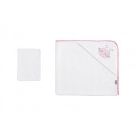 NAF NAF - Prosop baie cu gluga si manusa, 75x75 cm Ladybird Pink