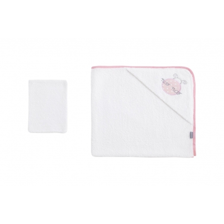 NAF NAF - Prosop baie cu gluga si manusa (Ladybird, Pink)