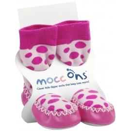 Mocc Ons - Papucei casa talpa piele, Pink Dots