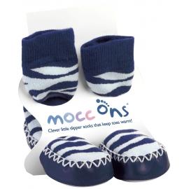 Mocc Ons - Papucei casa talpa piele, Zebra Stripes