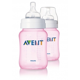 Philips Avent - Set 2 Biberoane Classic+, 260 ml, Roz, 1 luni +