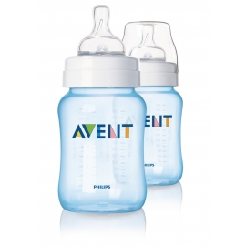 Philips Avent - Set 2 Biberoane Classic+, 260 ml, Bleu, 1 luni +