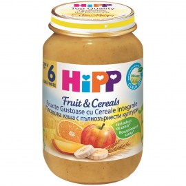 HIPP - Gustare cu Fructe&Cereale, Fructe Gustoase cu Cereale integrale, 190 g, 6+ luni