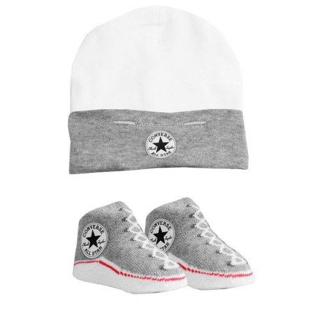 Converse - All Star Infant Hat&Booties, 0-6 luni, Alb/Gri