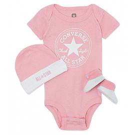Converse - All Star Infant Set 3 piese, 0-6 luni, Alb/Roz