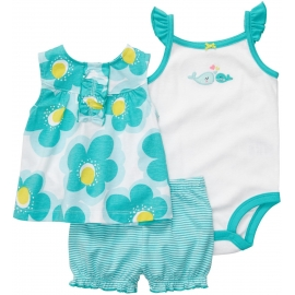 Carter's - Set 3 piese Rochita, Body si Pantalonasi, Green Flowers