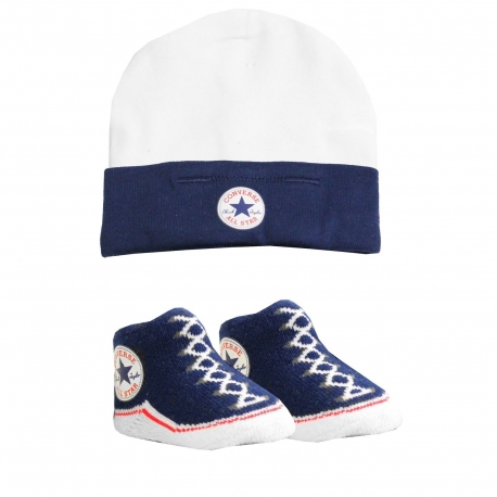 Converse - All Star Infant Hat&Booties, 0-6 luni, Alb/Bleumarin