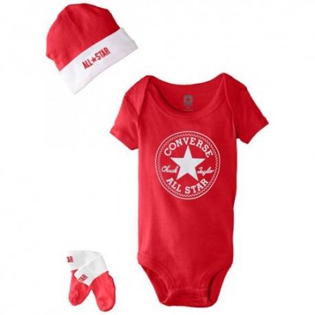 Converse - All Star Infant Set 3 piese, 0-6 luni, Alb/Rosu