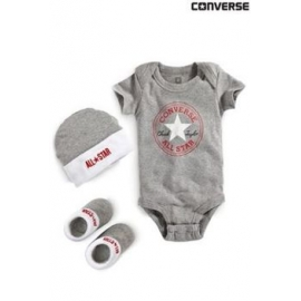 Converse - All Star Infant Set 3 piese, 0-6 luni, Alb/Gri