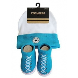 Converse - All Star Infant Hat&Booties, 0-6 luni, Alb/Bleu