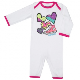 Converse - Salopeta All Star Infant Body All-in-one, Alb/Roz