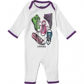 Converse - Salopeta All Star Infant Body All-in-one, Alb/Mov