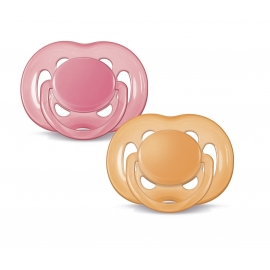 Philips Avent - Suzeta unicolor , 6 - 18 luni, Roz portocaliu