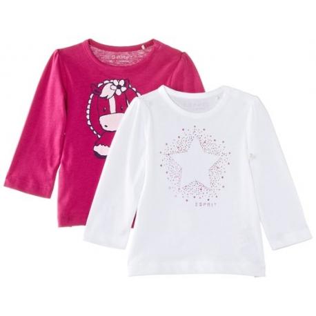 Esprit - Set 2 bluze fetite cu maneca lunga Shiny Pink