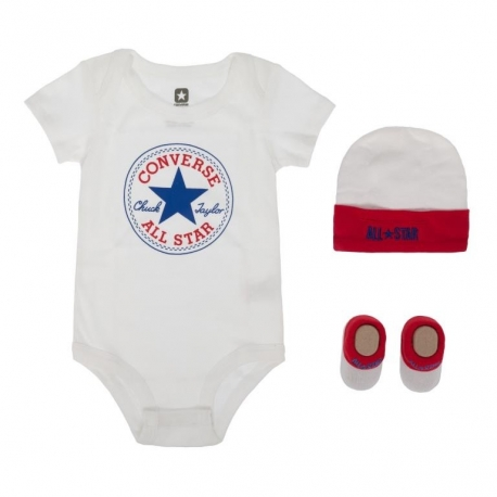 Converse - All Star Infant Set 3 piese, 0-6 luni, Alb