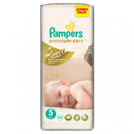Pampers - Scutece Premium Care 5 Junior Jumbo Pack 56 buc