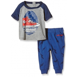 Converse - Salopeta All Star Infant Set Tricou si Pantaloni, Lightning Bolt