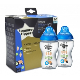 Tommee Tippee - Set Biberoane Decorate Bleu 2X340ml, 3 luni+