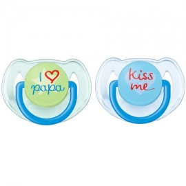 Philips AVENT - Suzete Fashion Text, 6-18 luni, Bleu, 2 buc