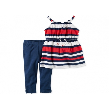 Carter's - Set 2 piese Bluza si Colanti, Red /Navy Stripes