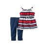 Carter's - Set 2 piese Bluza si Colanti, Red /Navy Stripes