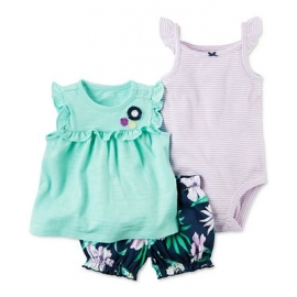 Carter's - Set 3 piese Rochita, Body si Pantalonasi, Lila Flowers