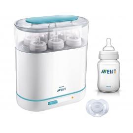 Philips Avent - Sterilizator electric cu aburi 3-in-1 + CADOU Biberon 150ml si Suzeta 0-6 luni
