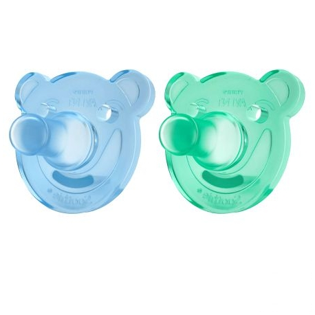 Philips AVENT - Suzete Soothie, 0-3 luni, verde/bleu, 2 buc