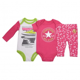 Converse - All Star Infant Set 2 Body si Pantaloni, Roz