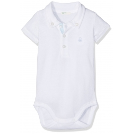 United Colours of Benetton - Body cu maneca scurta Polo, Alb/Bleu