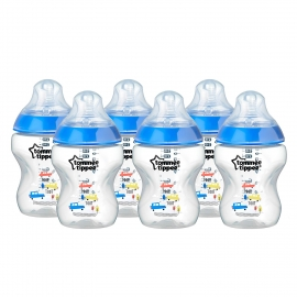 Tommee Tippee - Set Biberoane 6X260ml Decorate Bleu