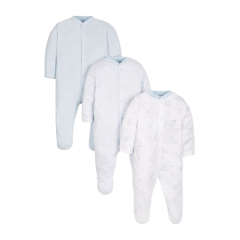 Mothercare - Pijamale body all-in-one Blue Pack, 3 buc, Light Blue