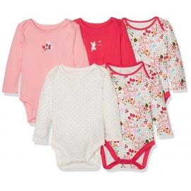 Mothercare - Set Body cu maneca lunga Pink Leaves, 5 buc