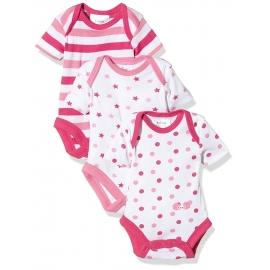 Twins - Set Body cu maneca scurta Girls Rose, 3 buc