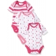 Twins - Set Body cu maneca scurta Girls Rose, 3 buc