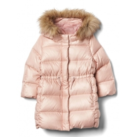 GAP - Geaca fetite Warmest Down Fill Long Puffer, Roz