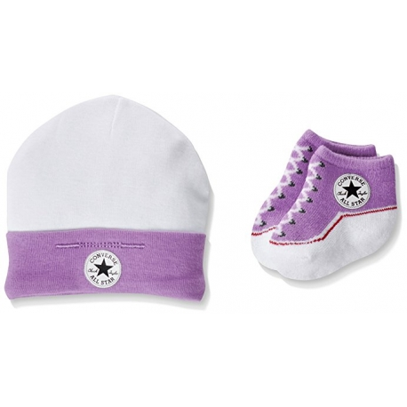 Converse - All Star Infant Hat&Booties, 0-6 luni, Alb/Lila