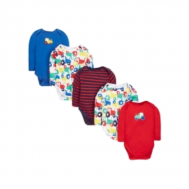 Mothercare - Set Body cu maneca lunga Tractor, 5 buc