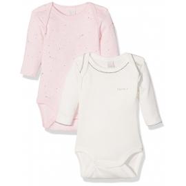Esprit - Set Body cu maneca lunga, Stars Pink, 2 buc