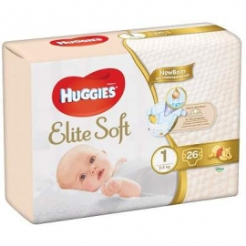 Huggies- Scutece Elite Soft 1, 2-5 kg, 26 buc