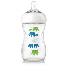 Philips AVENT - Biberon Avent Natural 260 ml, Elephant Blue, 1 luni+