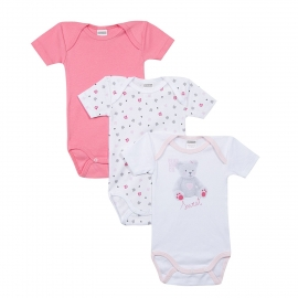 Absorba - Set 3 body cu maneca scurta, Sweet Guimauve