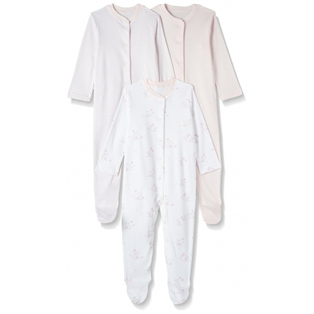Mothercare - Pijamale body all-in-one, 3 buc, Light Pink