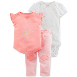 Carter's - Set 3 piese Body, Tricou si Pantaloni, So Happy Clouds