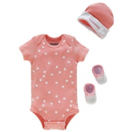 Converse - Set 3 piese All Star Infant Gift, 0-6 luni, Pink Stars