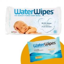WaterWipes - PROMO Servetele umede pentru bebelusi 60 buc + Servetele demachiante pentru fata 24 buc