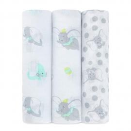Aden+Anais - Museline pentru infasat Ideal baby Disney, 3 buc 107x107 cm, Dumbo