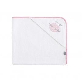 NAF NAF - Prosop baie cu gluga bumbac, 100x100 cm Ladybird Pink